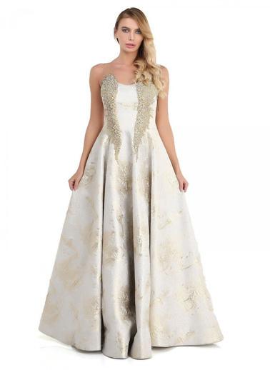 Pierre Cardin Uzun Abiye Elbise Altın